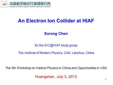 An Electron Ion Collider at HIAF