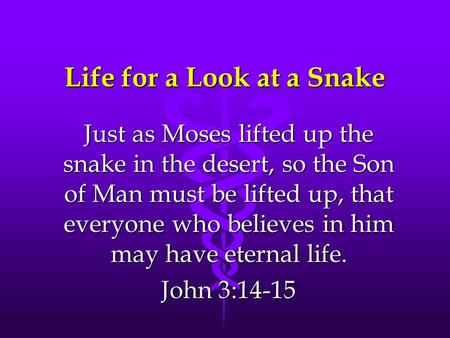 Life for a Look at a Snake Just as Moses lifted up the snake in the desert, so the Son of Man must be lifted up, that everyone who believes in him may.