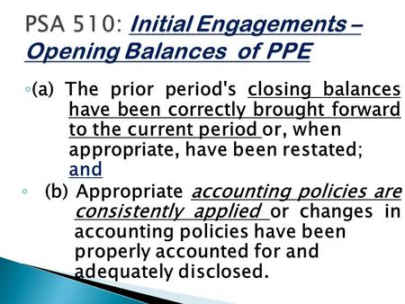 ◦ (a) The prior period's closing balances have been correctly brought forward to the current period or, when appropriate, have been restated; and ◦ (b)