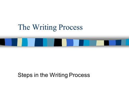 The Writing Process Steps in the Writing Process.