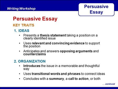 After Reading KEY TRAITS Writing Workshop Persuasive Essay...continued 1.IDEAS 2. ORGANIZATION Presents a thesis statement taking a position on a clearly.