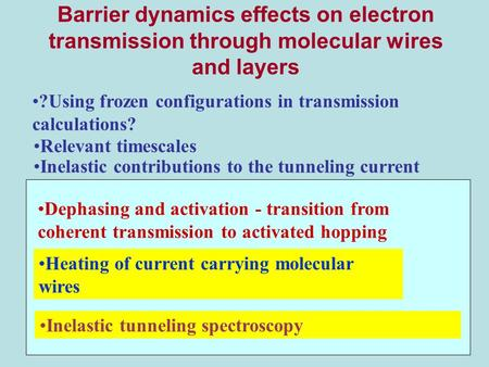 Barrier dynamics effects on electron transmission through molecular wires and layers Inelastic tunneling spectroscopy ?Using frozen configurations in transmission.