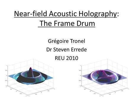 Near-field Acoustic Holography: The Frame Drum Grégoire Tronel Dr Steven Errede REU 2010.