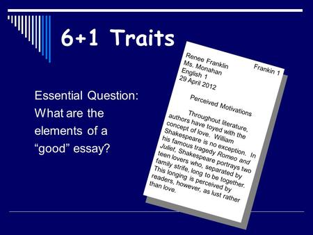 elements of a good essay ppt Components of a research paper in this segment, the key components of a quality research paper will be identified and discussed learning objectives identify the components of a research paper analyze the components of a research paper understanding scholarly journal articles once a researcher goes through the.