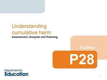 Assessment, Analysis and Planning Further Understanding cumulative harm P28 1.