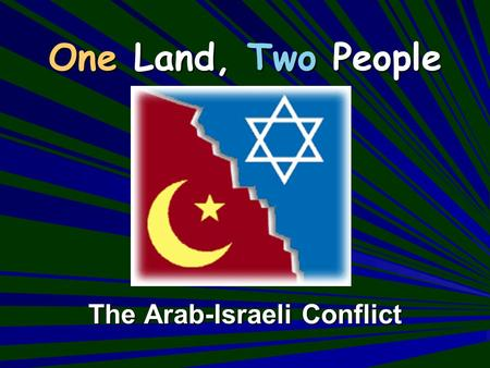 One Land, Two People The Arab-Israeli Conflict. The size of Israel compared to the state of California (Israel is approx. the same size as New Jersey)