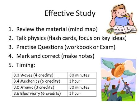 Effective Study 1.Review the material (mind map) 2.Talk physics (flash cards, focus on key ideas) 3.Practise Questions (workbook or Exam) 4.Mark and correct.