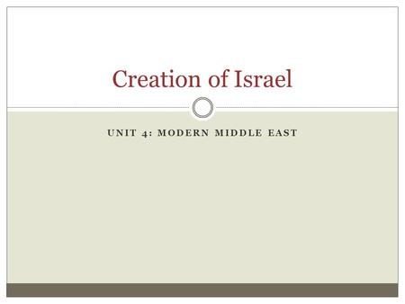 Unit 4: Modern middle East