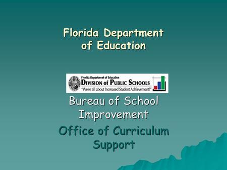 Florida Department of Education Bureau of School Improvement Office of Curriculum Support.