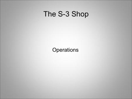 The S-3 Shop Operations. Tasks Leadership matrix Yellow and Blue Cards OPORDs (time line, supply list, instructors) FTX.