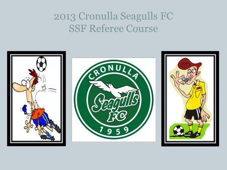 2013 Cronulla Seagulls FC SSF Referee Course. SSF Game Leader or Instructing Referee What's the difference?? Game Leaders look after the Under 6 and Under.