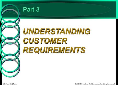 © 2006 The McGraw-Hill Companies, Inc. All rights reserved.McGraw-Hill/Irwin Part 3 UNDERSTANDING CUSTOMER REQUIREMENTS.