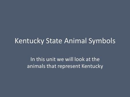 Kentucky State Animal Symbols In this unit we will look at the animals that represent Kentucky.