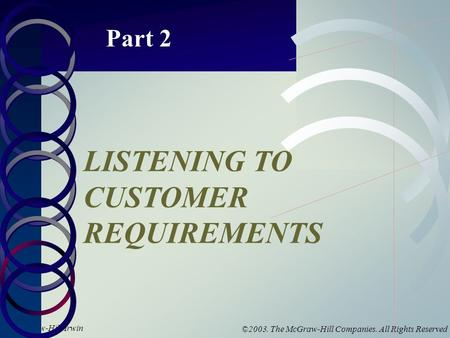 McGraw-Hill/Irwin ©2003. The McGraw-Hill Companies. All Rights Reserved Part 2 LISTENING TO CUSTOMER REQUIREMENTS.