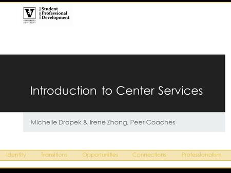 Introduction to Center Services Michelle Drapek & Irene Zhong, Peer Coaches IdentityTransitionsOpportunitiesConnectionsProfessionalism.
