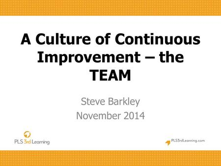 A Culture of Continuous Improvement – the TEAM