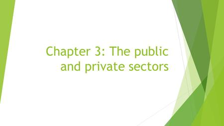 Chapter 3: The public and private sectors. The Private Sector  I. The Private Sector- includes 3 groups of economic decision makers  A. Households-
