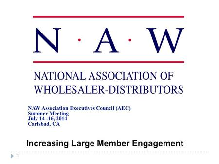 1 NAW Association Executives Council (AEC) Summer Meeting July 14 -16, 2014 Carlsbad, CA Increasing Large Member Engagement.