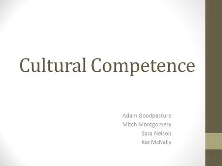 Cultural Competence Adam Goodpasture Mitch Montgomery Sara Nelson Kat McNally.