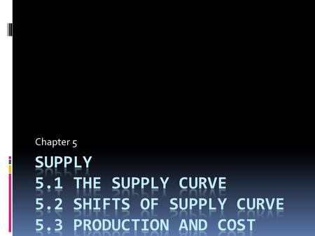 Chapter 5. 5.1 The Supply Curve  Profit = Total Revenue – Total Cost  Break Even= No profit, no loss of money.  Profit- Money made after expenses are.