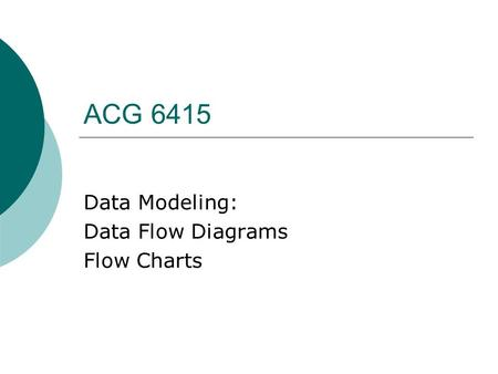 ACG 6415 Data Modeling: Data Flow Diagrams Flow Charts.