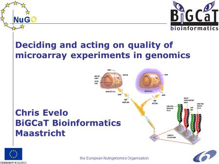 The European Nutrigenomics Organisation Deciding and acting on quality of microarray experiments in genomics Chris Evelo BiGCaT Bioinformatics Maastricht.