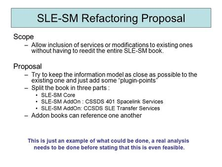 SLE-SM Refactoring Proposal Scope –Allow inclusion of services or modifications to existing ones without having to reedit the entire SLE-SM book. Proposal.