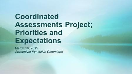 Coordinated Assessments Project; Priorities and Expectations March 16, 2015 StreamNet Executive Committee.