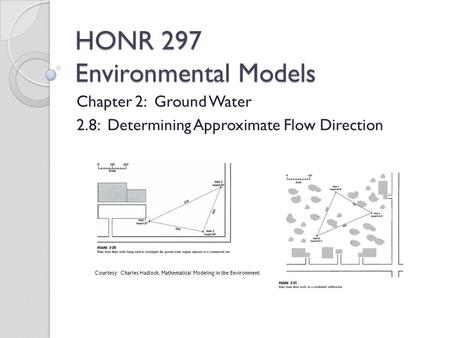 HONR 297 Environmental Models Chapter 2: Ground Water 2.8: Determining Approximate Flow Direction Courtesy: Charles Hadlock, Mathematical Modeling in the.