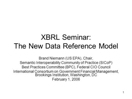 XBRL Seminar: The New Data Reference Model