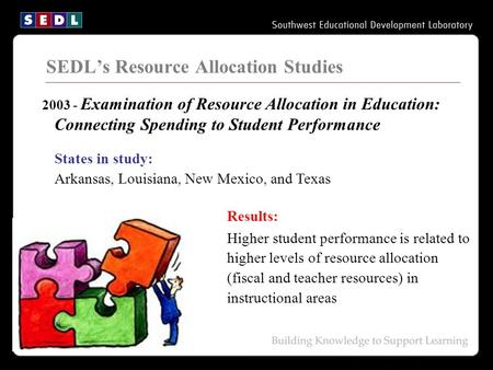 SEDL's Resource Allocation Studies 2003 - Examination of Resource Allocation in Education: Connecting Spending to Student Performance States in study: