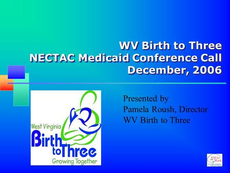 WV Birth to Three NECTAC Medicaid Conference Call December, 2006 Presented by Pamela Roush, Director WV Birth to Three.