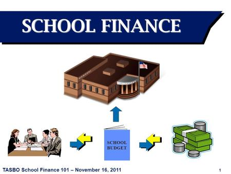 TASBO School Finance 101 – November 16, 2011 1 SCHOOL BUDGET SCHOOL FINANCE.