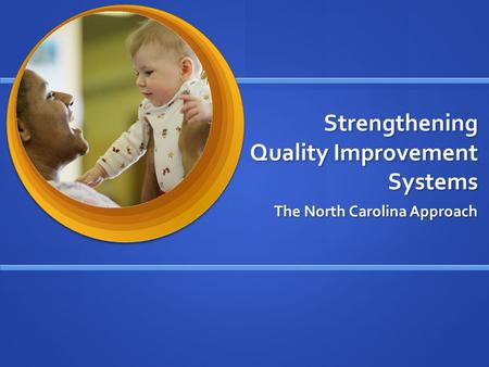 Strengthening Quality Improvement Systems The North Carolina Approach.