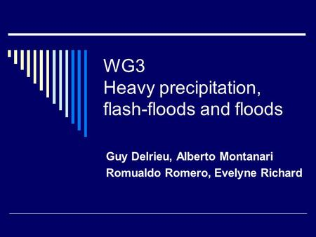 WG3 Heavy precipitation, flash-floods and floods Guy Delrieu, Alberto Montanari Romualdo Romero, Evelyne Richard.