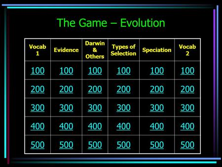 The Game – Evolution Vocab 1 Evidence Darwin & Others Types of Selection Speciation Vocab 2 100 200 300 400 500.