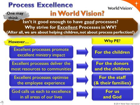 © 2014 World Vision International Excellent processes promote excellent ministry impact Isn't it good enough to have good processes? Why strive for Excellent.