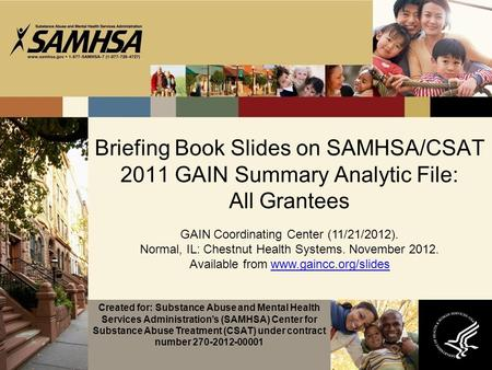 Briefing Book Slides on SAMHSA/CSAT 2011 GAIN Summary Analytic File: All Grantees GAIN Coordinating Center (11/21/2012). Normal, IL: Chestnut Health Systems.