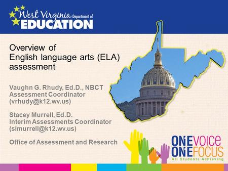 Overview of English language arts (ELA) assessment Vaughn G. Rhudy, Ed.D., NBCT Assessment Coordinator Stacey Murrell, Ed.D. Interim.
