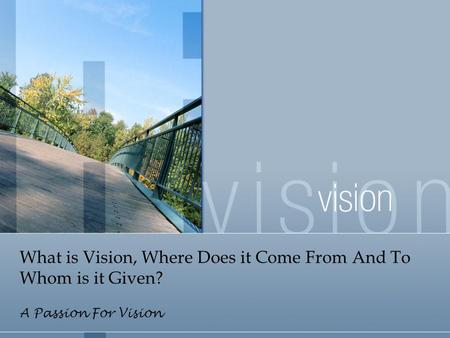 What is Vision, Where Does it Come From And To Whom is it Given? A Passion For Vision.