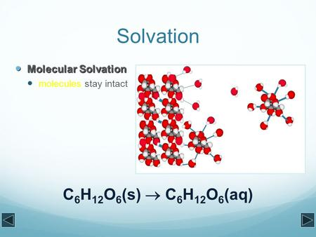 Solvation Molecular Solvation Molecular Solvation molecules stay intact C 6 H 12 O 6 (s)  C 6 H 12 O 6 (aq)