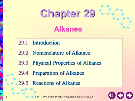 Chapter 29 Alkanes 29.1 Introduction 29.2 Nomenclature of Alkanes