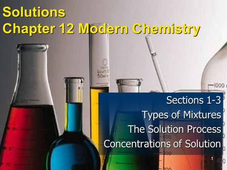1 Solutions Chapter 12 Modern Chemistry Sections 1-3 Types of Mixtures The Solution Process Concentrations of Solution.