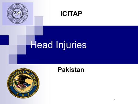 1 Head Injuries Pakistan ICITAP. Learning Objectives Recognize different types of head injuries Learn about different types of brain injuries Identify.