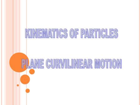 Plane curvilinear motion is the motion of a particle along a curved path which lies in a single plane. Before the description of plane curvilinear motion.