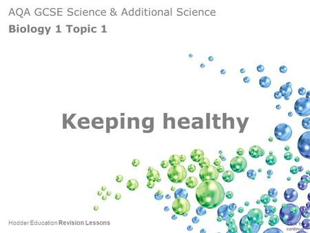AQA GCSE Science & Additional Science Biology 1 Topic 1 Hodder Education Revision Lessons Keeping healthy Click to continue.