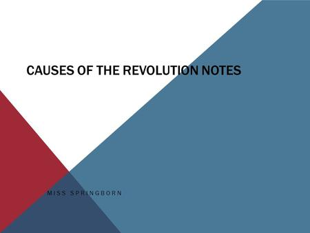 CAUSES OF THE REVOLUTION NOTES MISS SPRINGBORN. QUESTION… Why do you think colonists would have been angry at England during the colonial period?  Navigation.