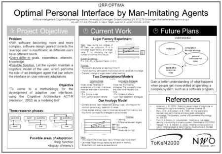 I2RP/OPTIMA Optimal Personal Interface by Man-Imitating Agents Artificial intelligence & Cognitive Engineering Institute, University of Groningen, Grote.