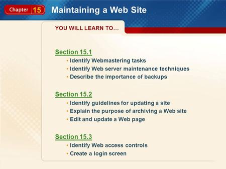 15 Maintaining a Web Site Section 15.1 Identify Webmastering tasks Identify Web server maintenance techniques Describe the importance of backups Section.