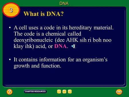 What is DNA? A cell uses a code in its hereditary material. The code is a chemical called deoxyribonucleic (dee AHK sih ri boh noo klay ihk) acid, or.